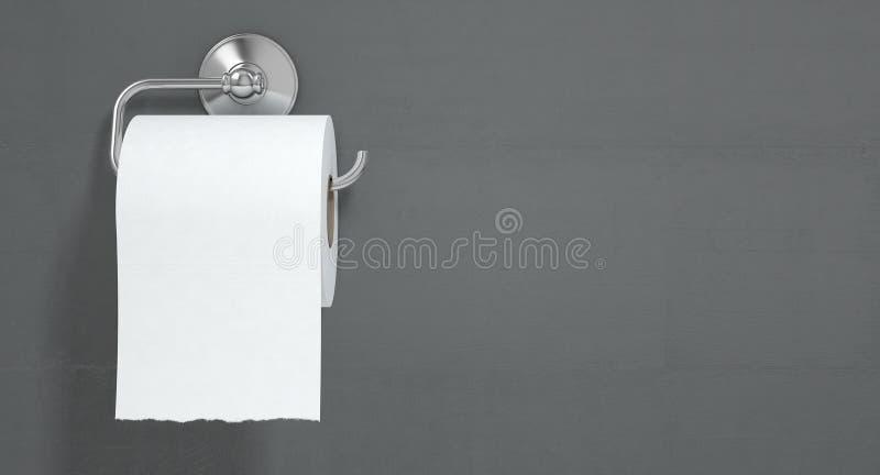 Toalettrulle på den Chrome hängaren vektor illustrationer