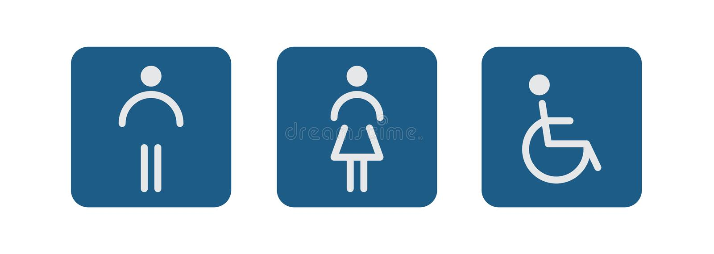 Toalettsymboler - handikappade, spädbarn, män, kvinnor royaltyfri illustrationer
