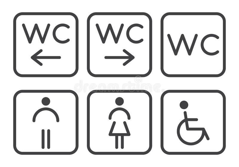 Toalettsymboler - handikappade, spädbarn, män, kvinnor stock illustrationer