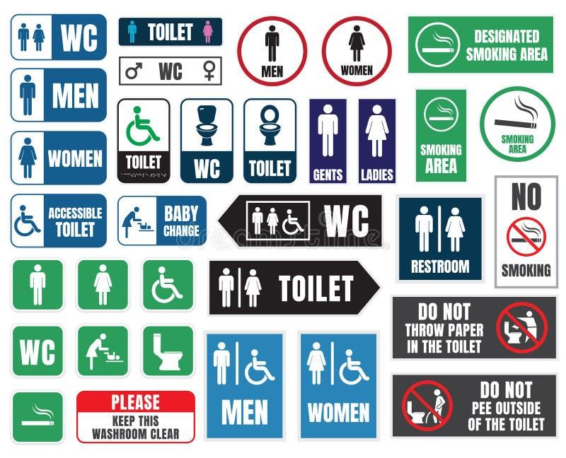Toalettsymboler och tecken, wc-etiketter royaltyfri illustrationer