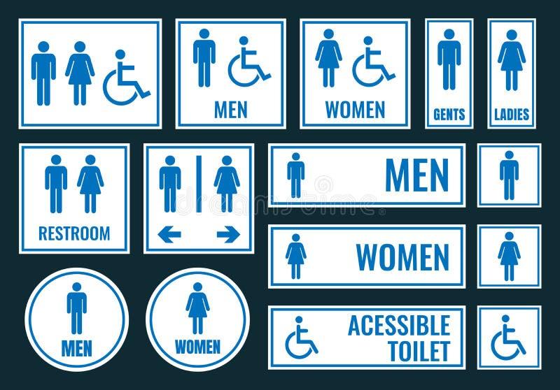 Toalettsymboler och toaletttecken stock illustrationer