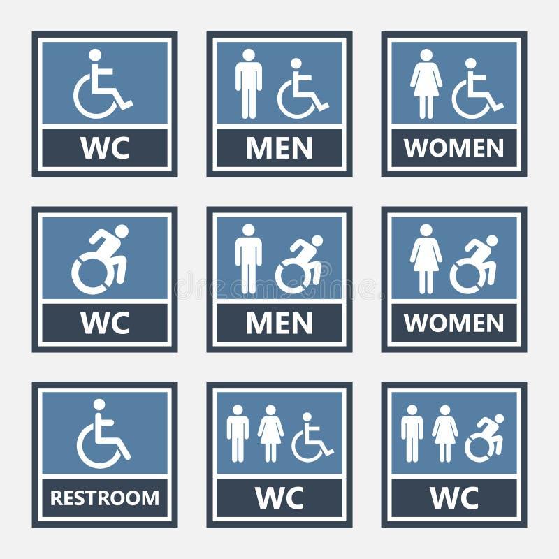 Toalettsymboler och toaletttecken, wc-etiketter royaltyfri illustrationer