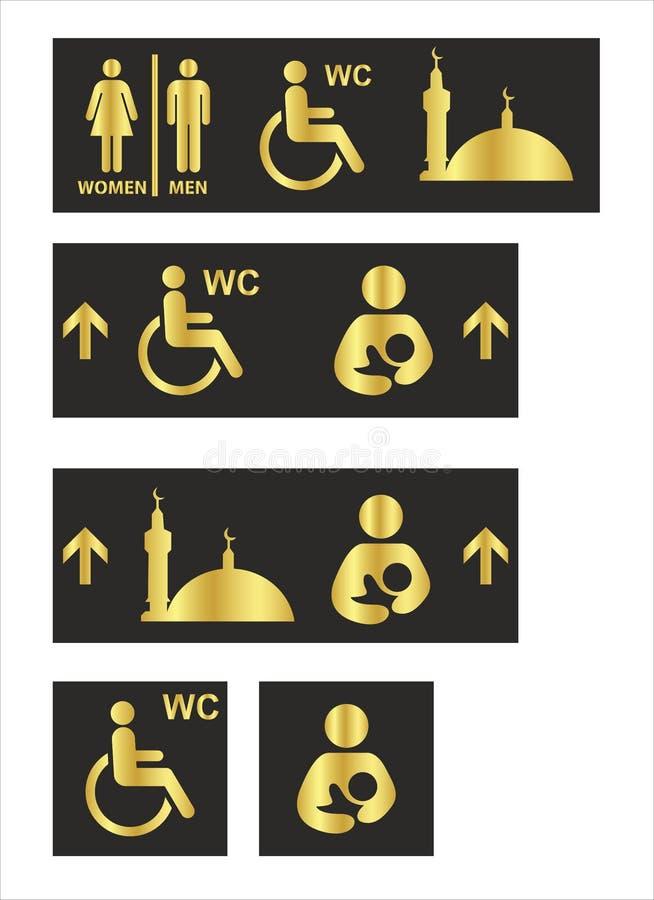 Toalettsymboler st?llde in pojke- eller flickatoalettwc stock illustrationer
