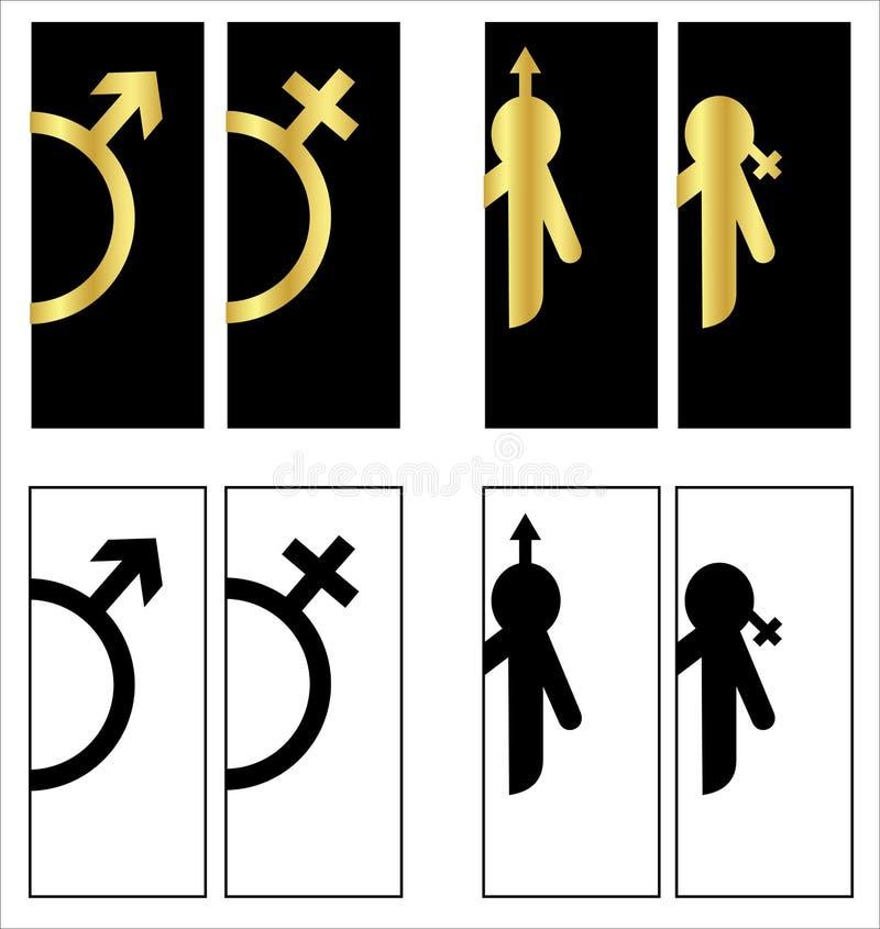 Toalettsymboler st?llde in pojke- eller flickatoalettwc royaltyfri illustrationer