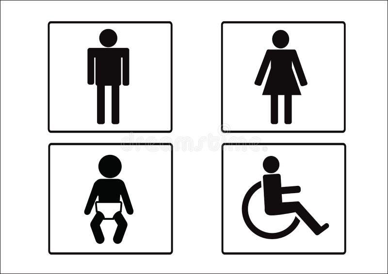 Toalettsymbolsymbol av det mankvinnahandikappet och barnet royaltyfri illustrationer