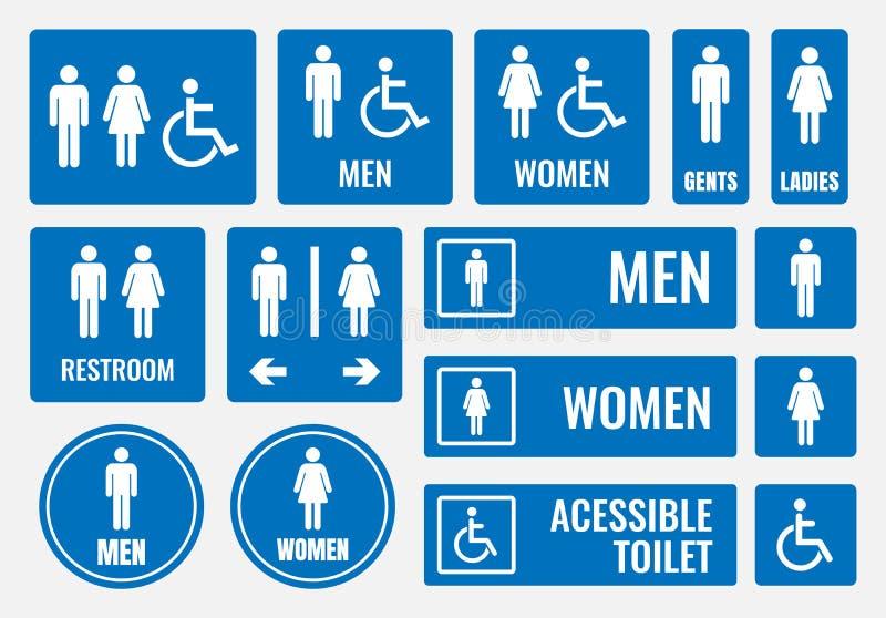 Toaletttecken och toalettsymboler vektor illustrationer