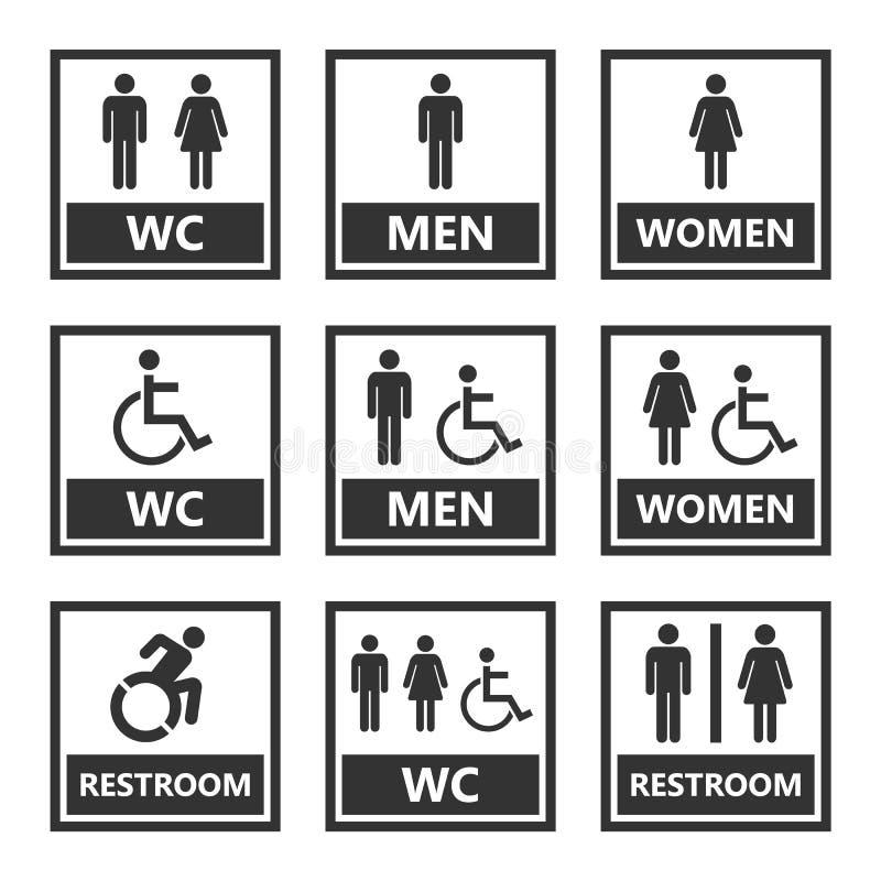Toaletttecken och toalettsymboler stock illustrationer