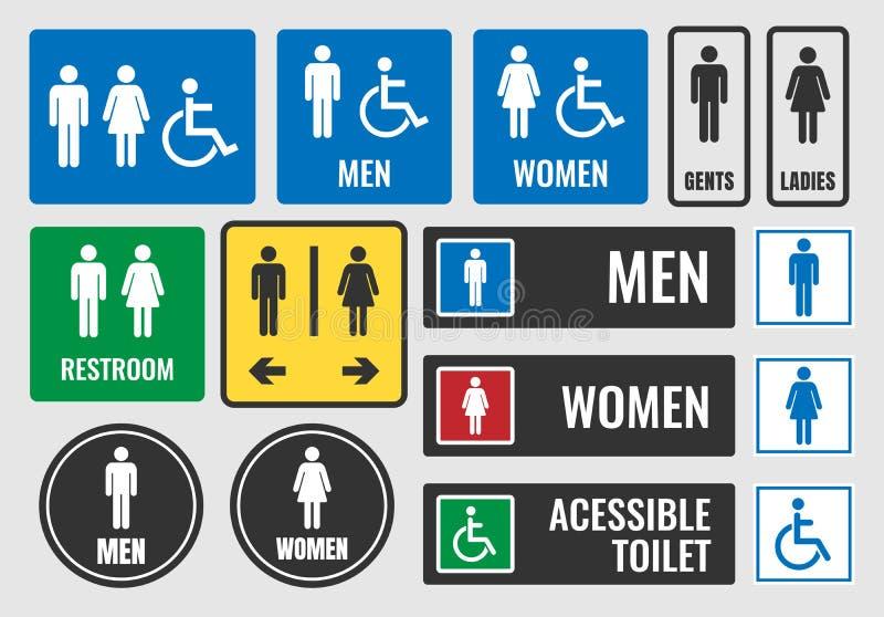 Toaletttecken och toalettsymboler, wc-symboler stock illustrationer