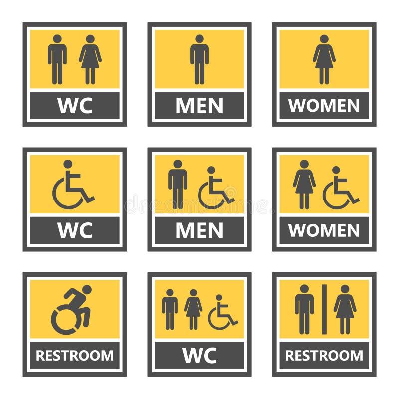 Toaletttecken och toalettsymboler, wc-symboler vektor illustrationer