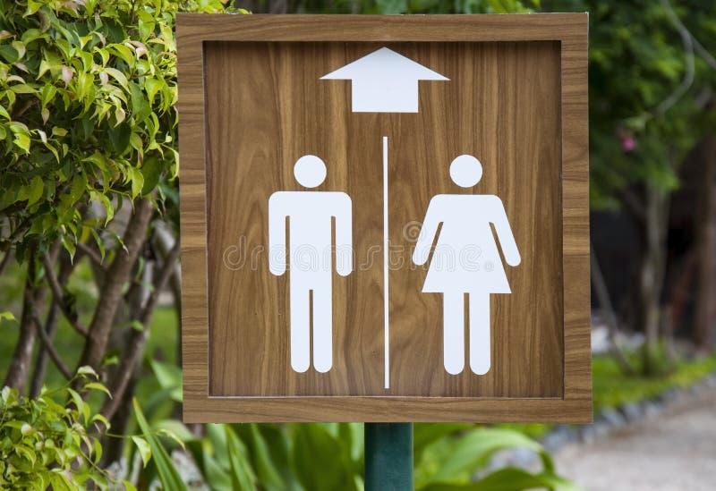 Toaletttecken på stranden Manlig och kvinnligWC fotografering för bildbyråer