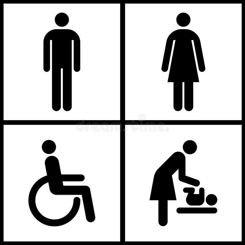Toaletttecken - toalett-, moderrum och rörelsehindrat tecken royaltyfri illustrationer