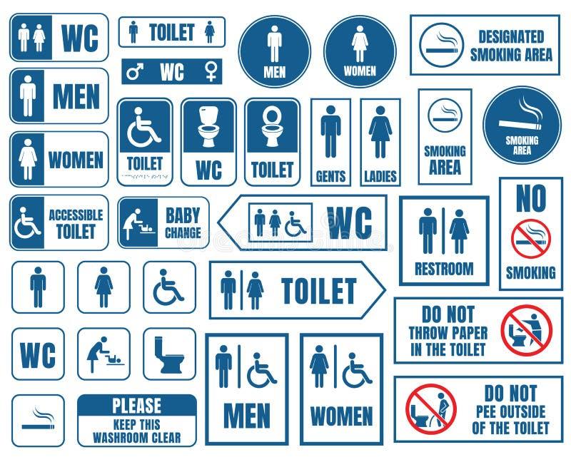 Toalettvektortecknet ställde in, toalettwc-klistermärkear vektor illustrationer