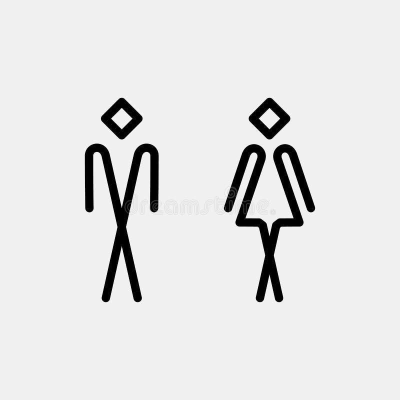 ToalettWC-dörr/väggplatta stock illustrationer