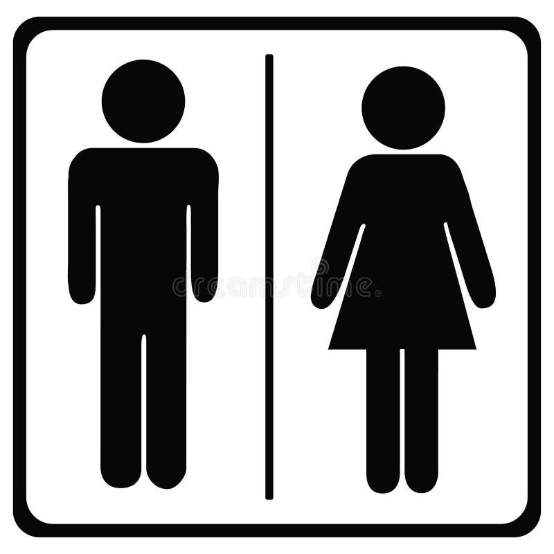 Toalety ikony Unisex Odizolowywający Na bielu - Wektorowa ilustracja - royalty ilustracja