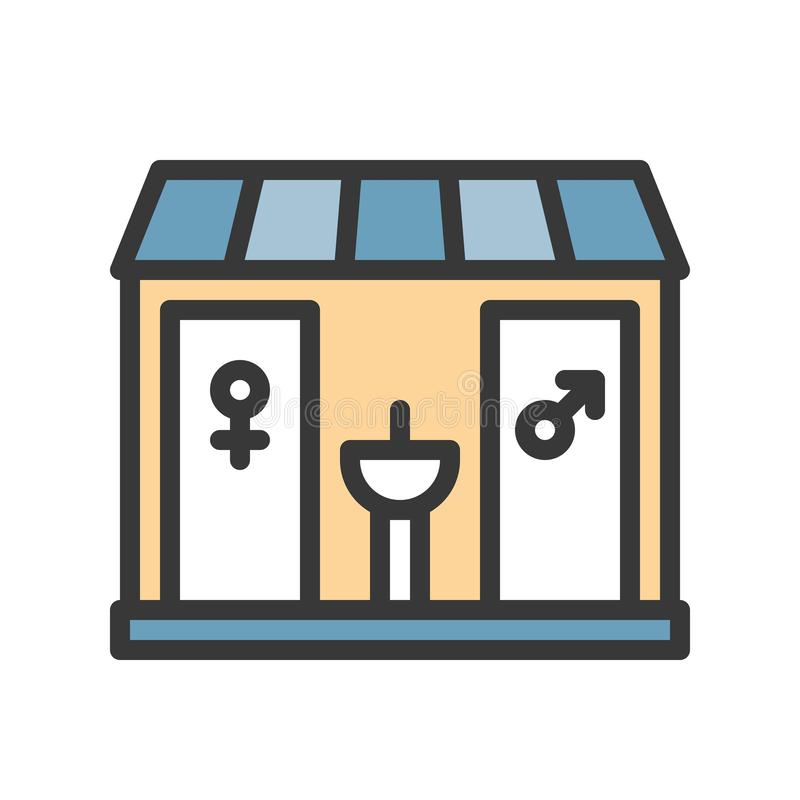 Toalety wektorowa ikona, wypełniający konturu stylu editable uderzenie royalty ilustracja