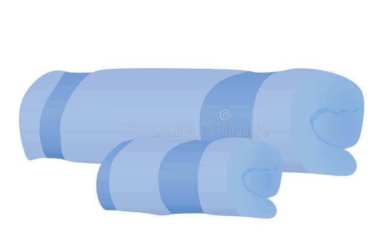 Toalha azul pequena e grande ilustração do vetor