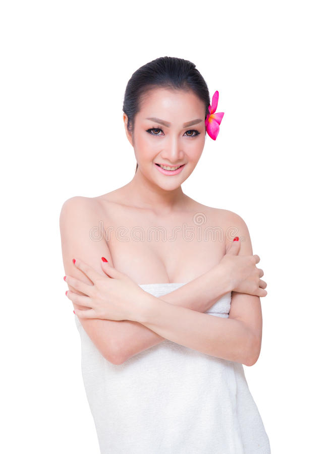 toalha bonita do desgaste de mulher, isolada no fundo branco foto de stock royalty free