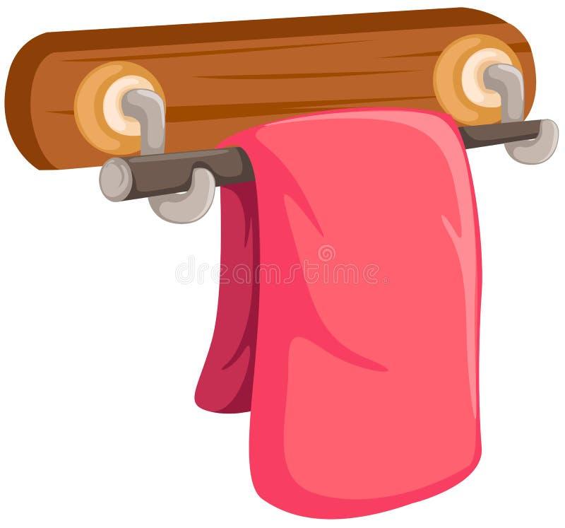 Toalha cor-de-rosa na cremalheira de madeira ilustração stock