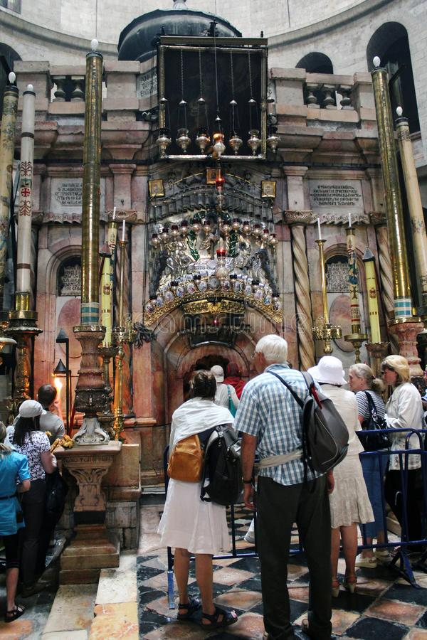 A toalha da igreja do santamente enterra, Jerusalém foto de stock royalty free