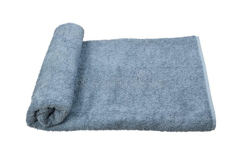 Toalha de banho cinzenta de terry isolada no fundo branco fotos de stock royalty free