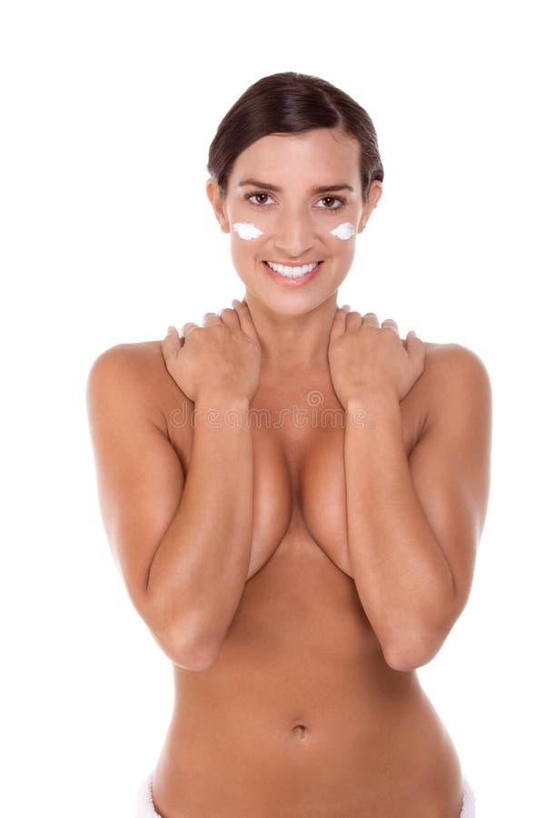 Toalha de banho envolvida de Skincare mulher caucasiano nova fotos de stock