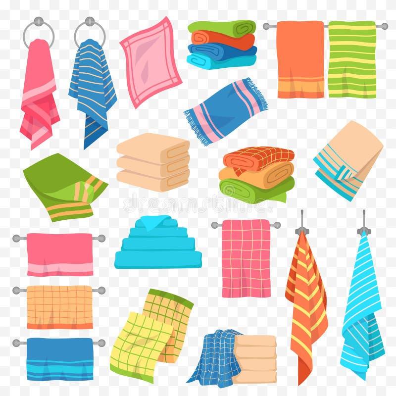 Toalha de desenho Cozinha, praia e banho pendurados ou empilhados Rolos para higiene spa, objetos têxteis vetor colorido ilustração royalty free