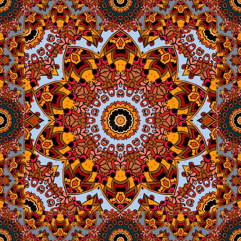Toalha de mesa bonita com flor - sol mandala Ornamento mexicano brilhante ilustração stock