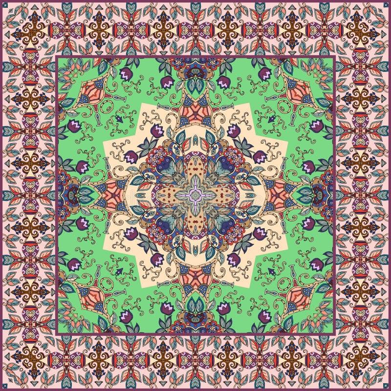 Toalha de mesa bonita em tons verdes cobertor Lenço com beira decorativa ilustração stock
