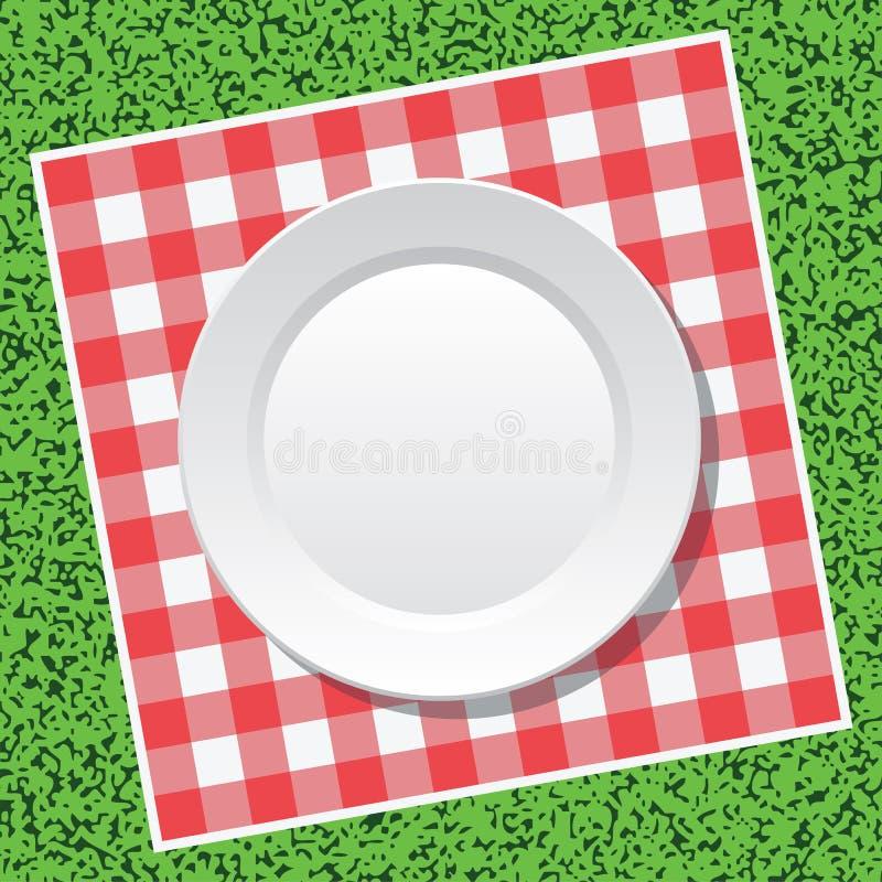 Toalha de mesa do piquenique e placa vazia ilustração royalty free