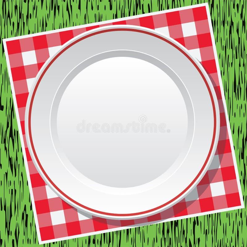 Toalha de mesa e placa vazia na grama verde ilustração stock
