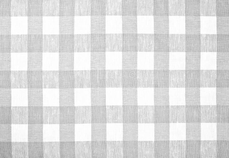 Toalha de mesa verificada cinza da tela foto de stock