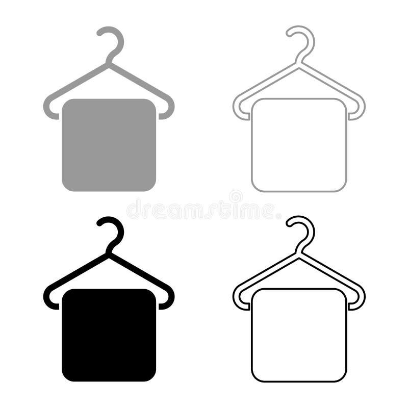 A toalha na toalha do gancho do gancho veste o gancho com ícone de suspensão de toalha ajustou a imagem lisa do estilo da ilustra ilustração stock