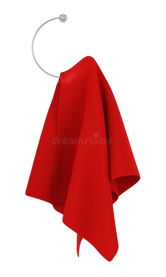 Toalha vermelha no gancho isolado no branco ilustração do vetor