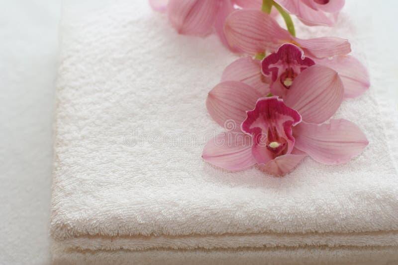 Toalhas de banho com orquídeas fotos de stock royalty free