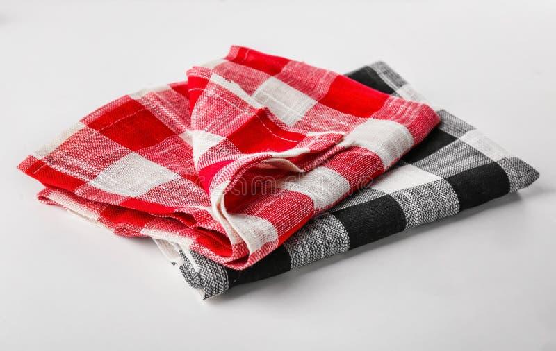 toalhas de cozinha checkered foto de stock