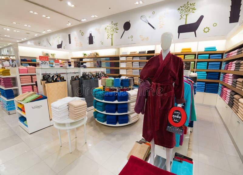 Toalhas e roupões, alameda de Siam Paragon, Banguecoque imagem de stock royalty free