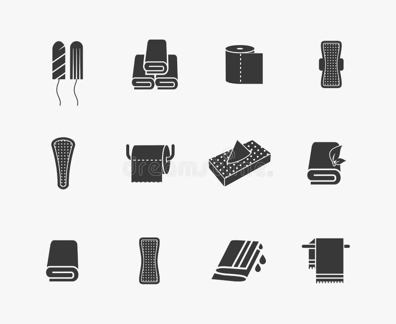 Toalhas, guardanapo e produtos de higiene femininos ilustração do vetor