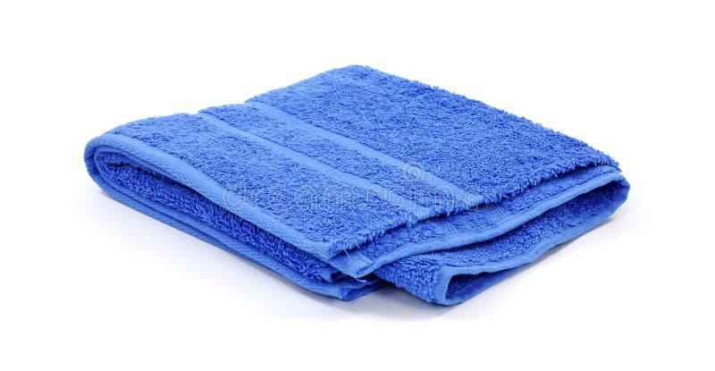 Toalla de ba o azul de la tela de rizo imagen de archivo for Colgador de toalla para bano