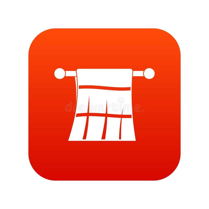 Toalla en un rojo digital del icono de la suspensión stock de ilustración