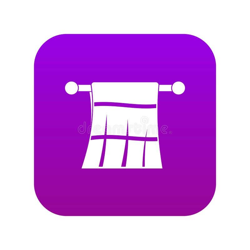 Toalla en una púrpura digital del icono de la suspensión ilustración del vector