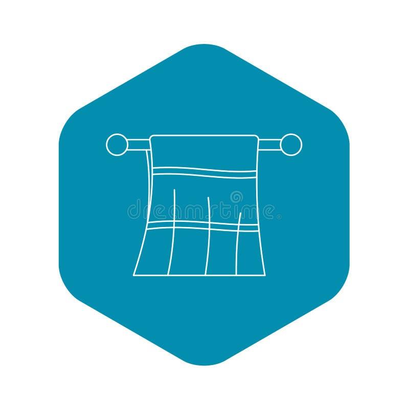 Toalla limpia en un icono de la suspensi?n, estilo del esquema libre illustration