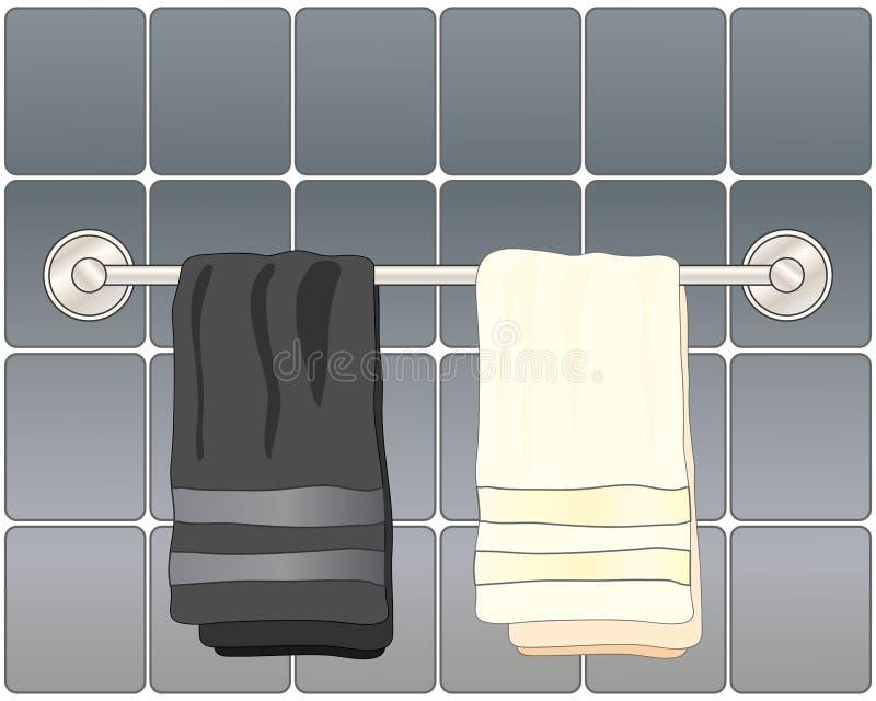 Toallas del cuarto de baño stock de ilustración