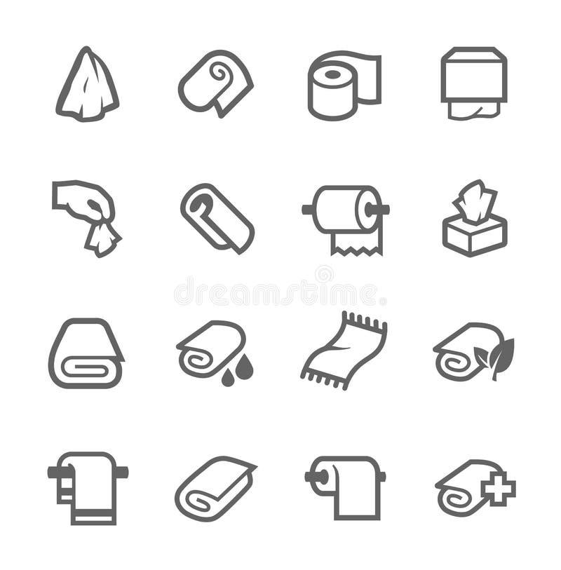 Toallas e iconos de las servilletas ilustración del vector