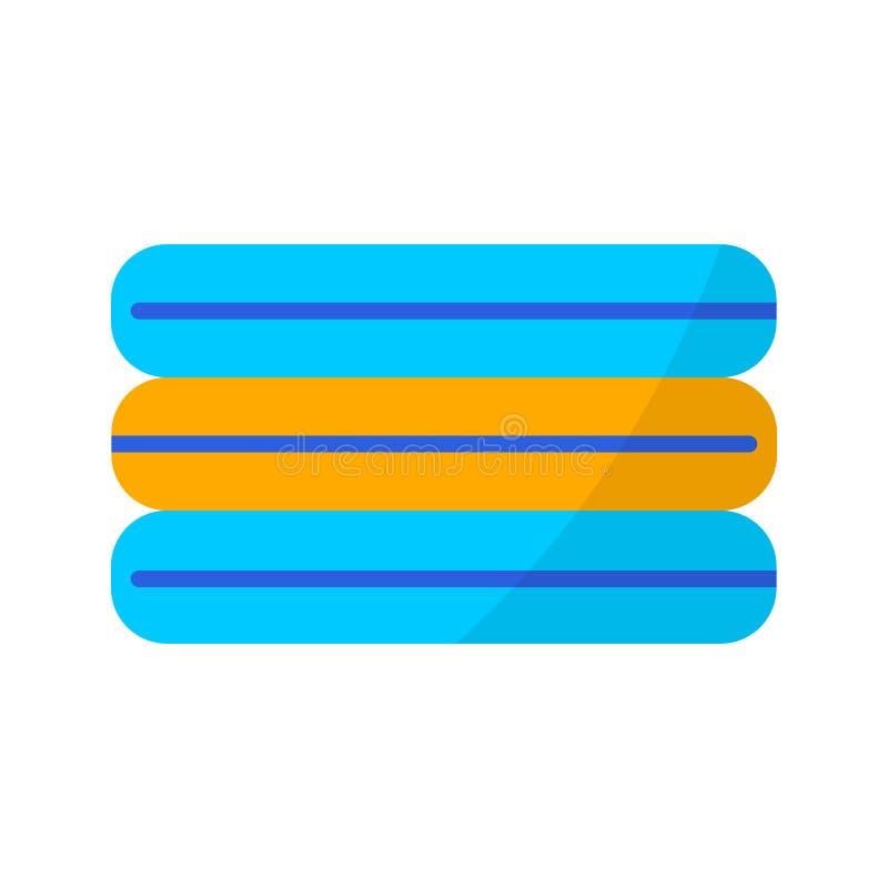 toallas Icono plano de las vacaciones de verano del color en el fondo blanco ilustración del vector