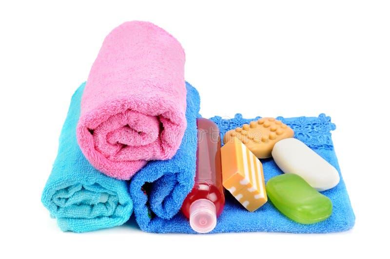 Toallas y jabón imagen de archivo