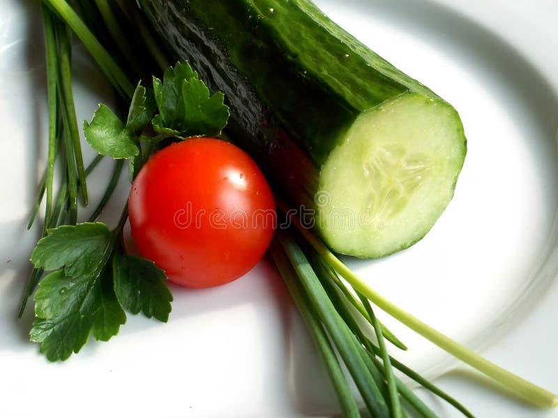 Toamto et concombre image stock