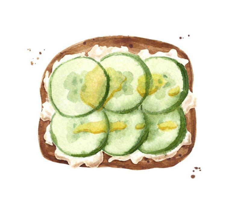 Toart met komkommer, olijfolie en witte saus of kaas royalty-vrije illustratie