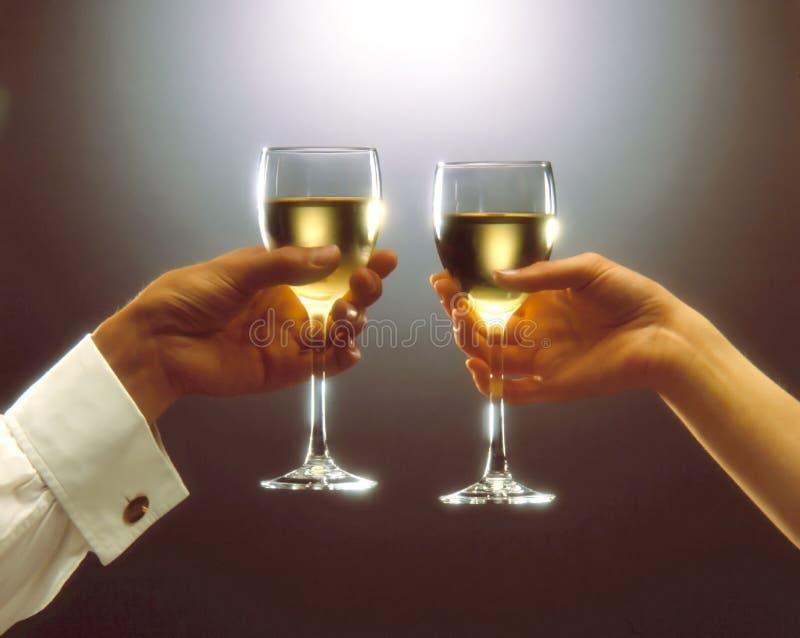 Toast. A woman and a man having a toast