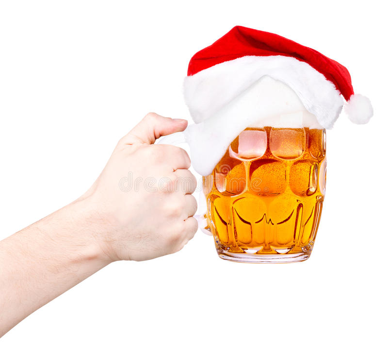 Toast with Beer and hat of Santa. Claus isolated on white stock image