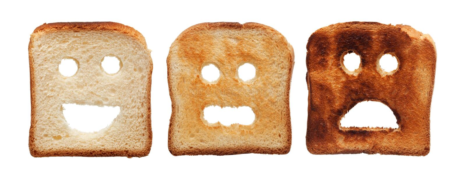 Toast bread differently burned stock photos